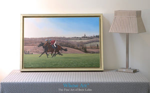 Horse canvas wall art print of a painting of a pair of racehorses galloping in training as the sun rises on a spring morning.