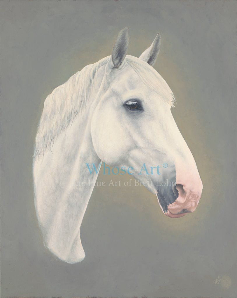 A horse head print of a grey horse with ears pointing forward, painted in oil on canvas.