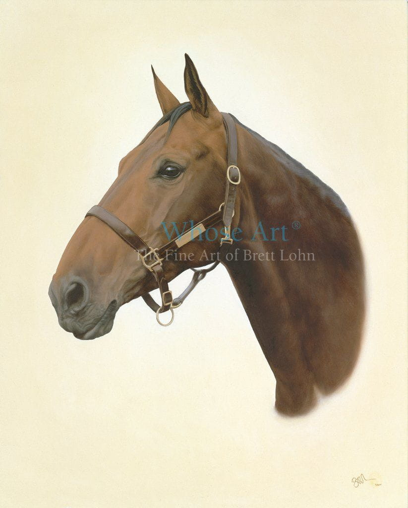 A horse head wall art print showing an oil painting of a bay horse with ears pointing forward, looking very alert & handsome.