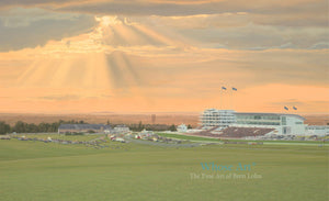 Horse racing Art picture of Epsom Downs during an evening race meeting with the sun setting in a dramatic stormy sky.