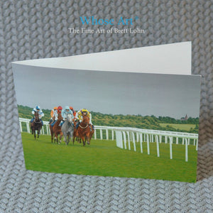 Racing Greeting Card showing an oil painting of horses running at Epsom Racecourse around the bend before Tattenham corner