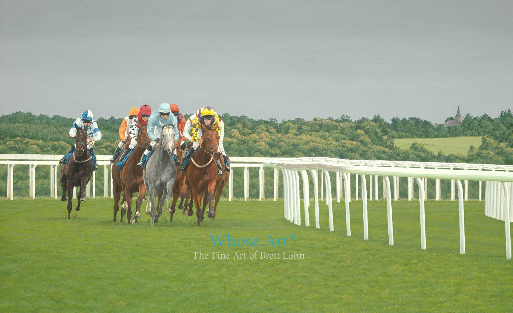 Horse racing art print of evening racing on Epsom Downs. Oil painting of horses racing in July with a stormy sky behind them