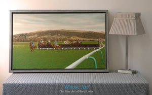 Horse racing canvas print of an oil painting of national hunt racing at Cheltenham. Horses are jumping the 13th fence.