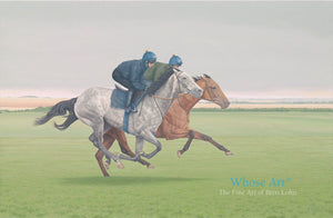 A galloping grey horse painted in oils in a wall art print showing horses galloping at Newmarket with jockeys on board.