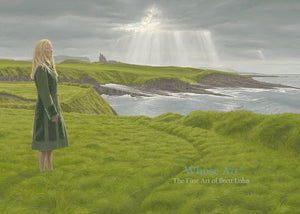 Irish art greeting card of a lady standing in a green coat on a grassy cliff in Mullaghmore, Sligo near ClassieBawn Castle.