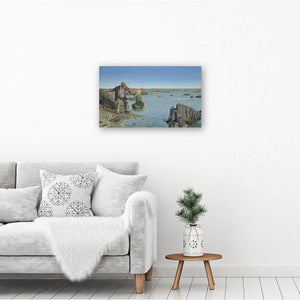 Wall art picture printed on canvas, featuring a narrative painting of a man casting his cares by skimming stones. Hangs on wall
