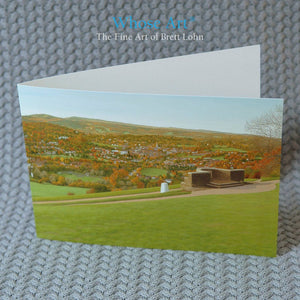 Landscape Art Greeting Card of an English Landscape painting, painted from a hill overlooking the South Downs, in Autumn