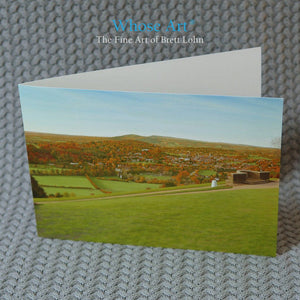 Landscape Art Greeting Card featuring Box Hill in an oil painting of the view point looking over Dorking and the Downs.