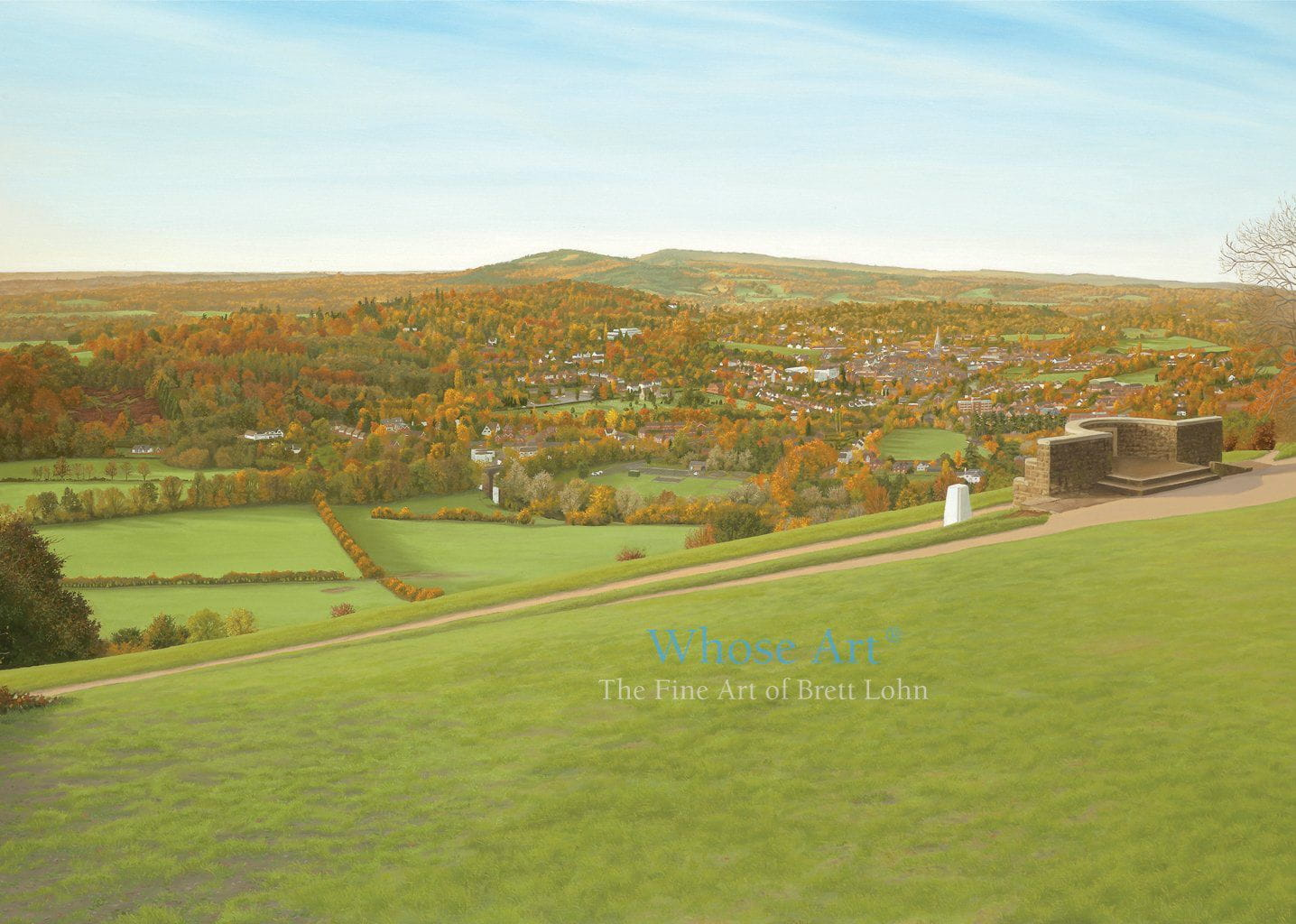 Landscape Greeting Card showing a painting of the view from the National Trust's Box Hill, across the Downs, in autumn.