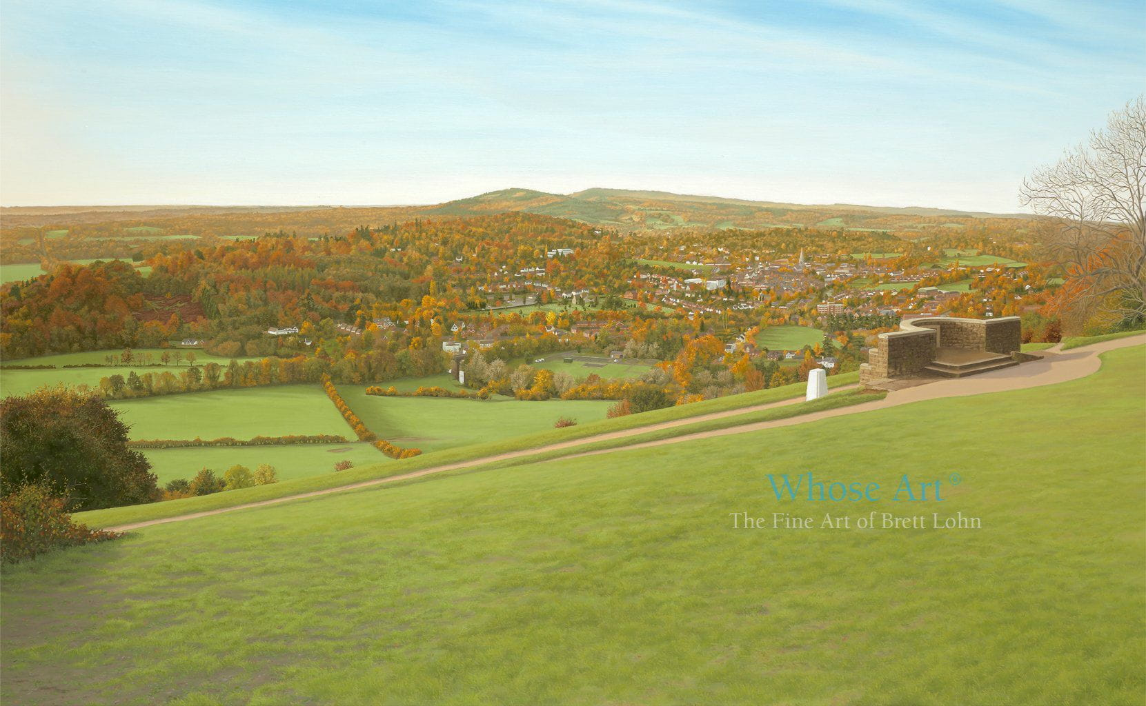 Landscape wall art print featuring a painting of the South Downs from the Box Hill viewpoint in the golden autumn light.
