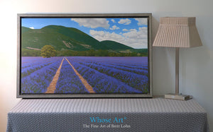 Lavender field canvas art print shows a beautiful oil painting of rows of lavender in Provence, France. Canvas print is framed