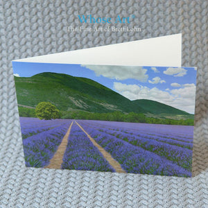 Lavender fields greeting card, blank inside, with a painting of lavender in a field in Provence beneath an azure sky