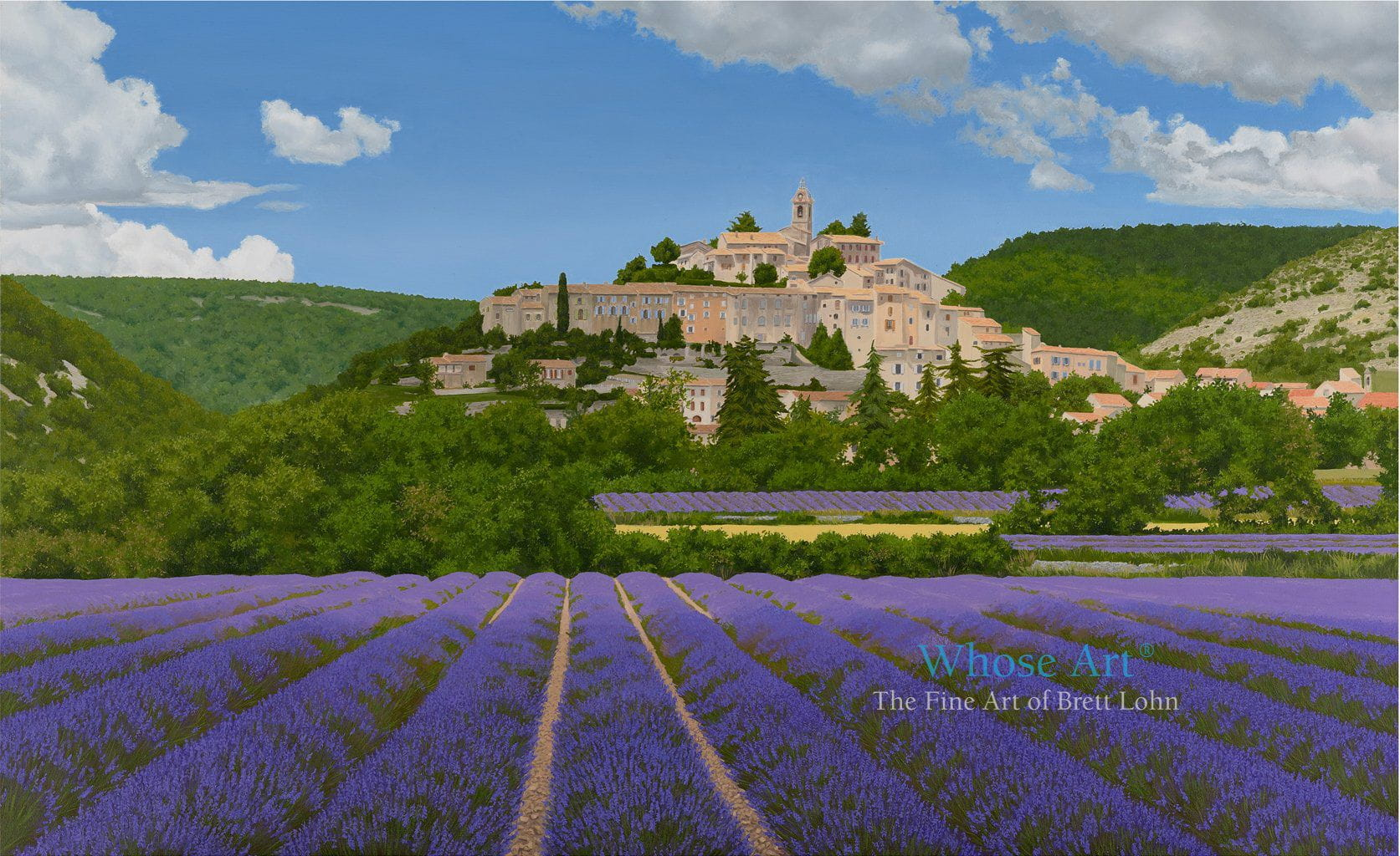Wall art print of a hill village surrounded by lavender fields in Provence, France. This oil painting shows lavender in rows.