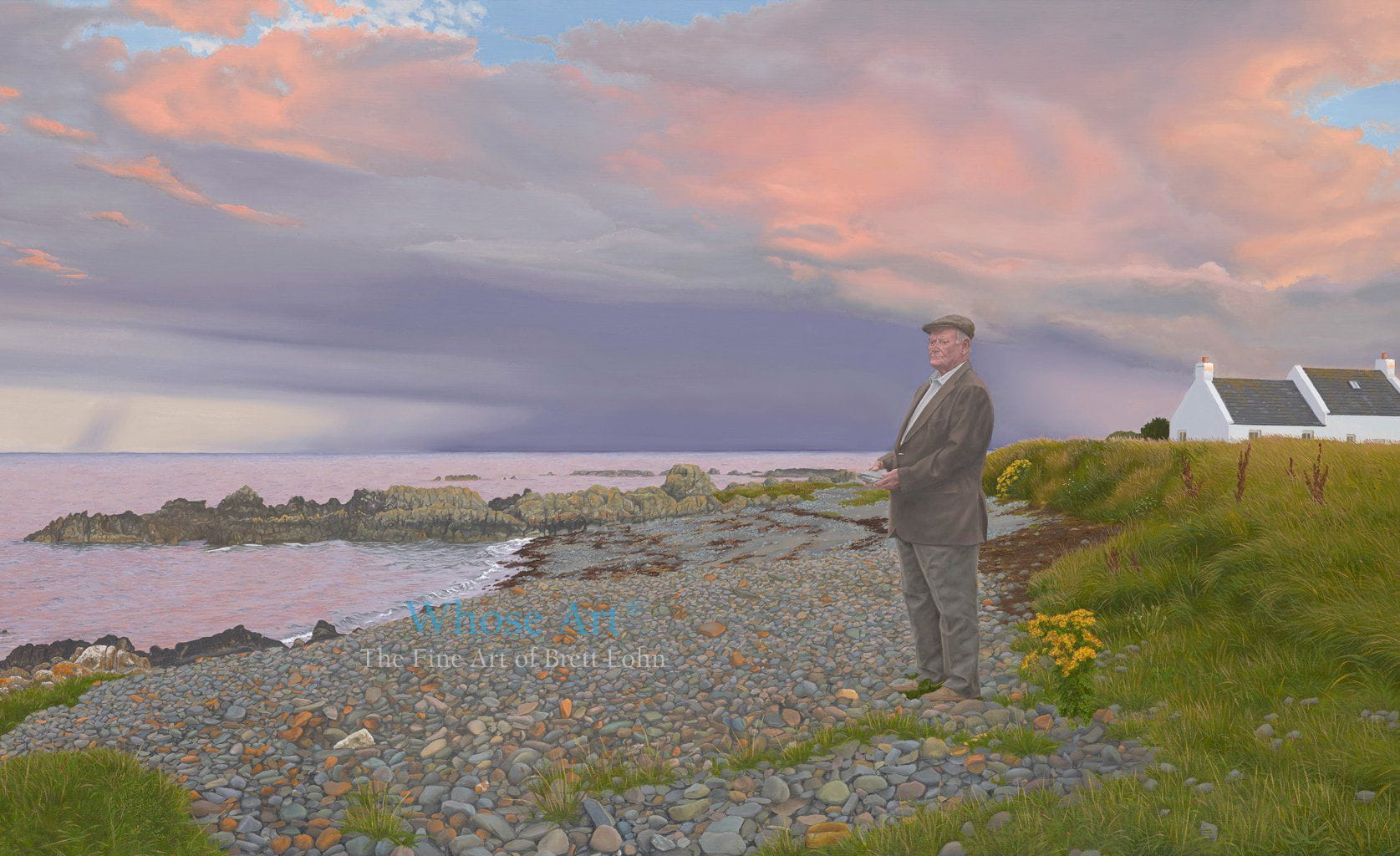 Mystic wall art oil painting of a man holding a heavy stone, stood on a stoney beach beneath a stormy sunset, by the sea.