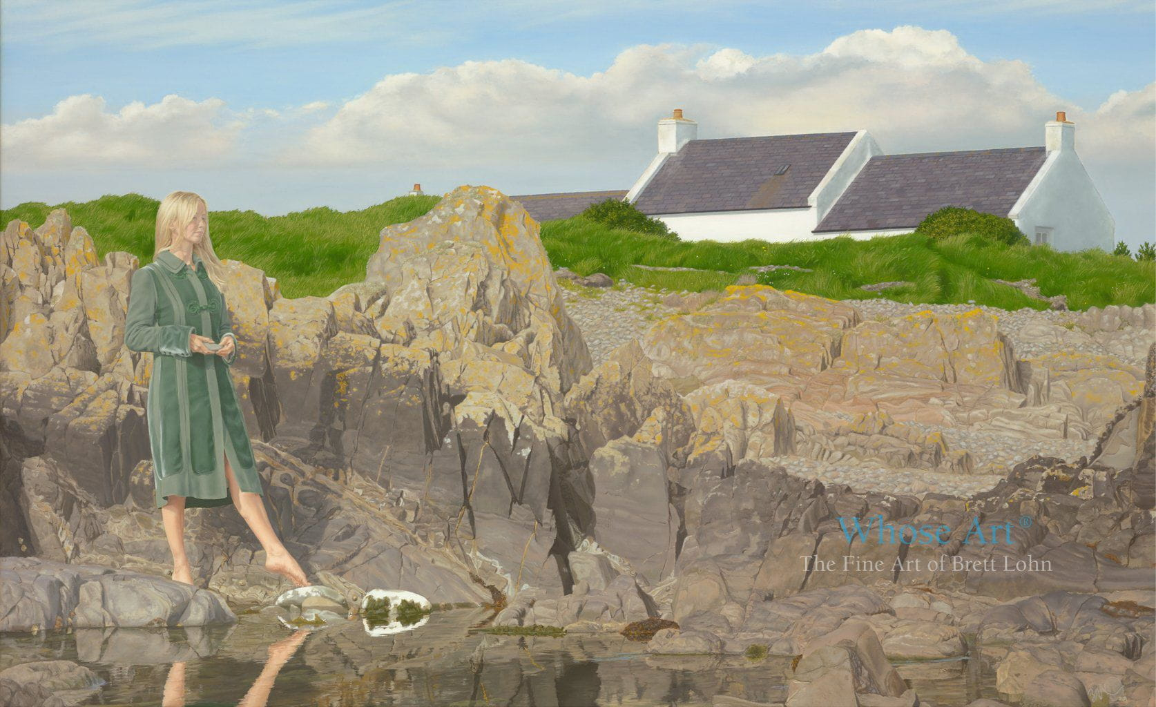 A Mystical art oil painting of a woman dressed in a green coat pointing her bare foot towards a rock pool by the sea.