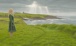A mystical wall art oil painting of a woman standing in a green coat on a grassy cliff beneath a stormy sky near a castle.
