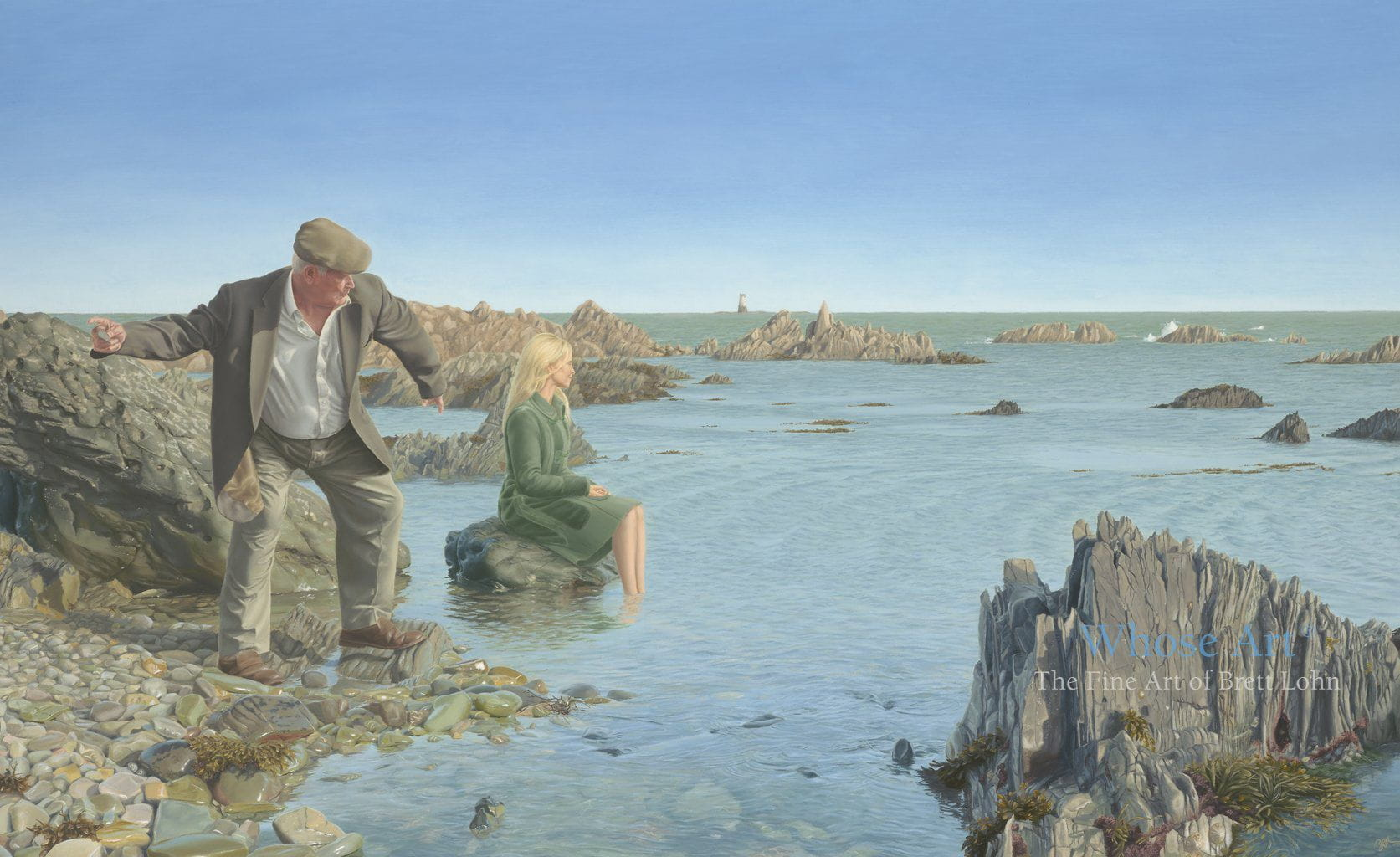 Narrative art print story of a man beneath a blue sky, standing by the sea, skimming a stone with a mysterious lady paddling