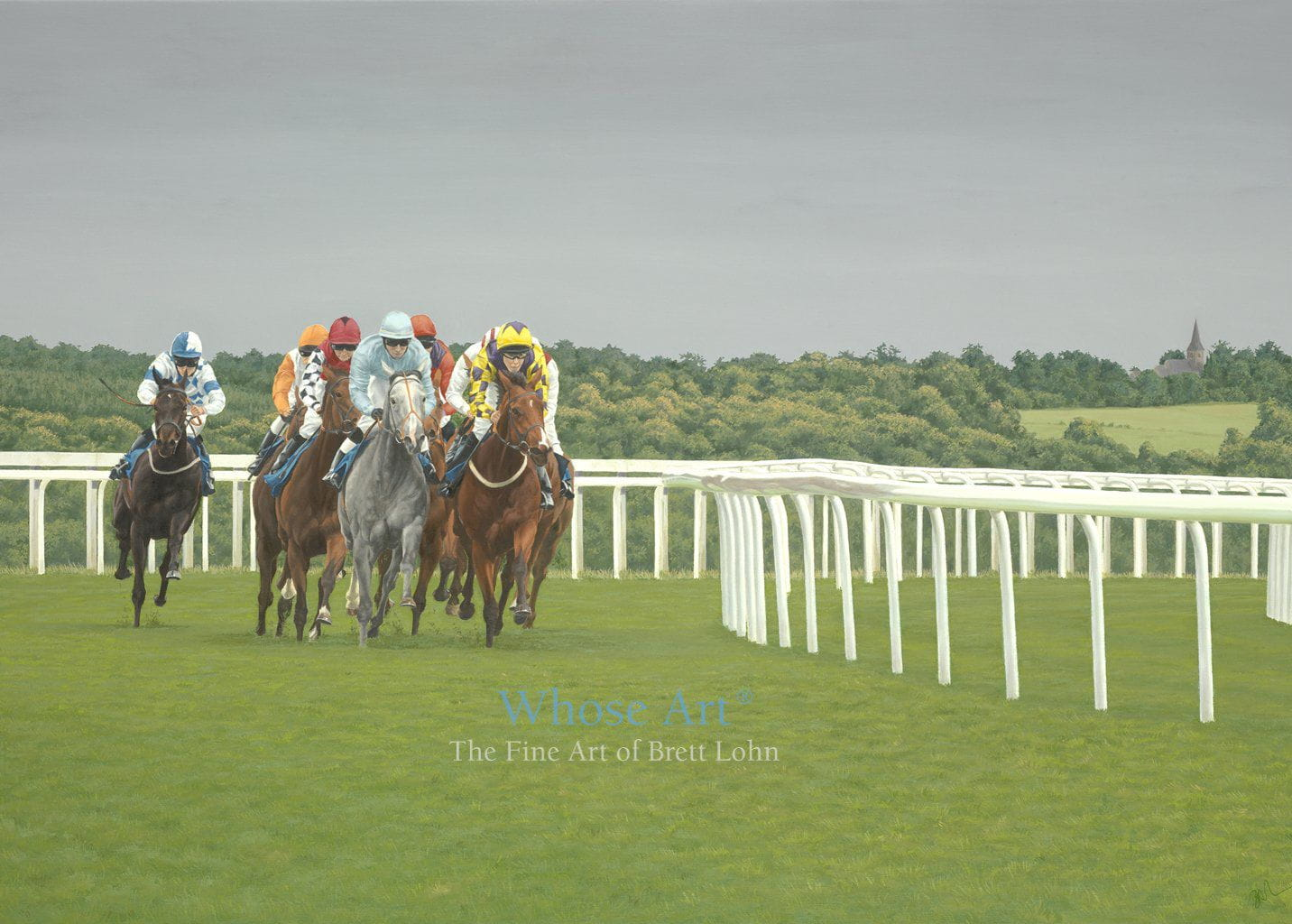 Horse racing art greeting card featuring a painting of horses racing at Epsom on a July evening with a stormy sky behind
