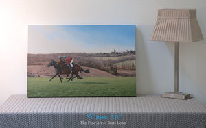 Running Horses canvas art print with gallery wrap edges. Horse art print features a pair of horses galloping as they train.