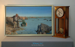Seascape canvas art print from a narrative art oil painting showing an old man with a young woman by the sea. Framed in gold.