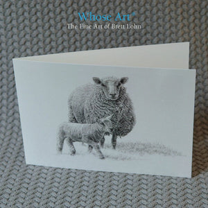 Sheep Art Card of a lamb and a sheep together, drawn in pencil. The lamb is bravely walking ahead of the watching sheep