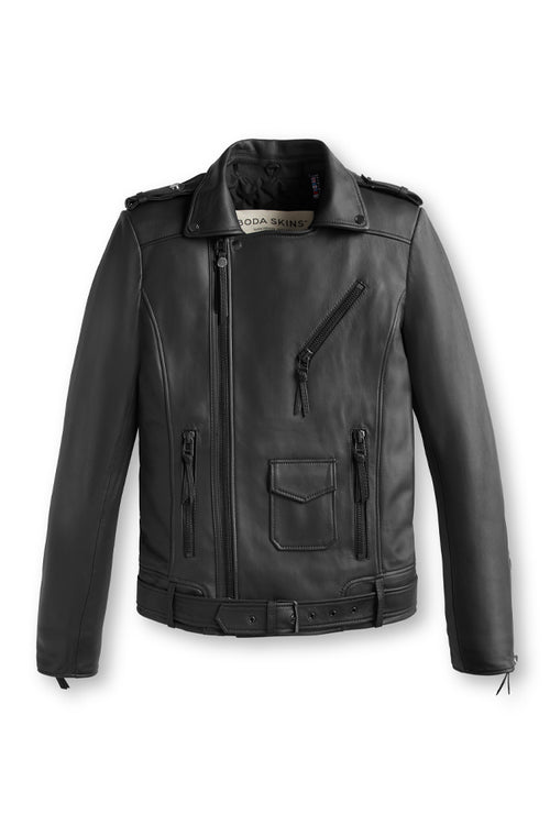 Men's Black Leather Biker Jacket - Classic Biker Jacket | BODA SKINS