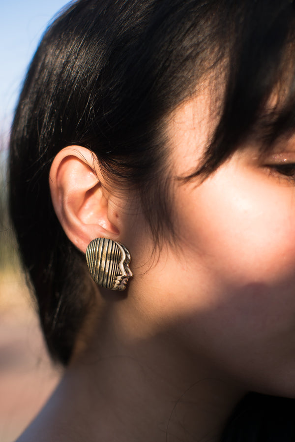 Vintage Gold Plated Profile Clip-On Earrings