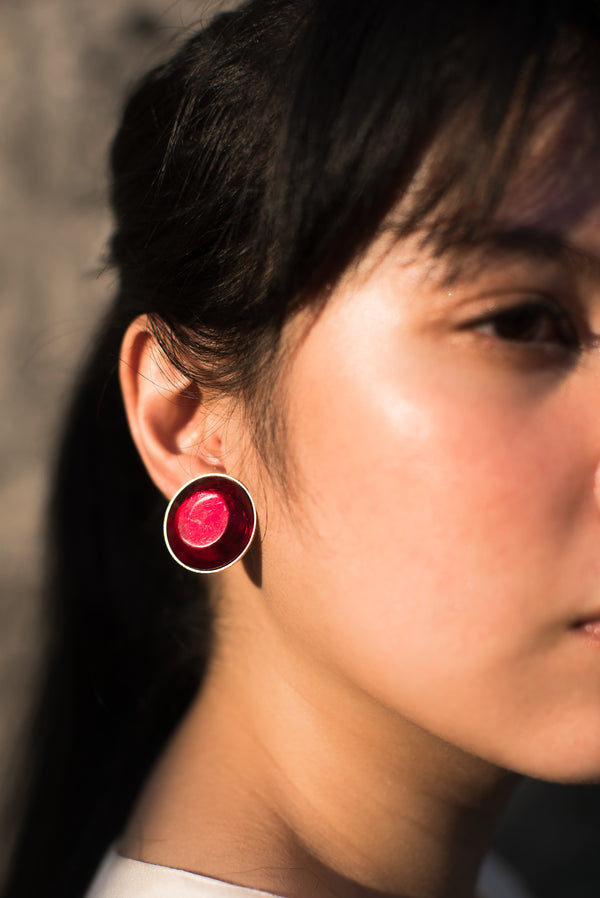 Faux Ruby Clip-On Earrings