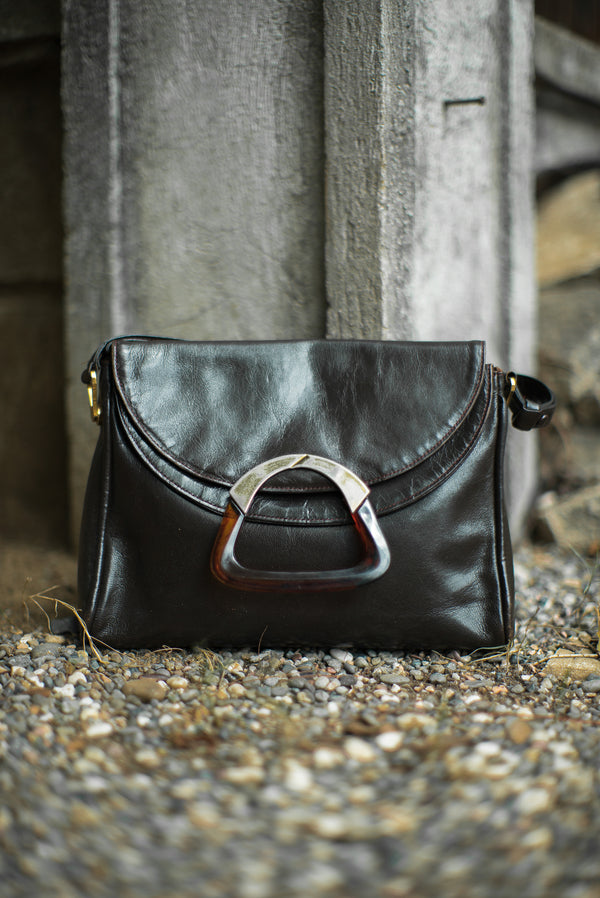 Vintage Leather Strap Bag with Tortoiseshell Detail