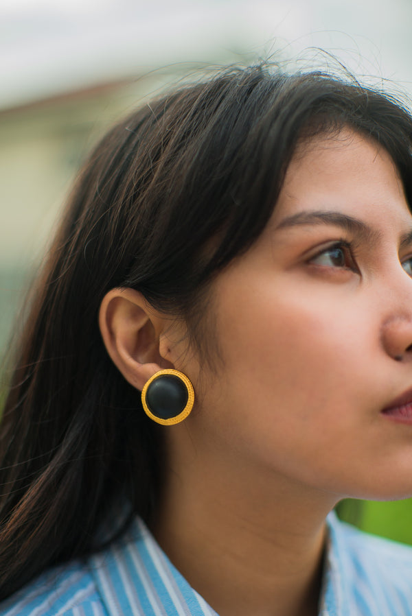 Brass and Acrylic Clip-On Earrings