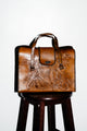 Vintage Carved Tan Leather Handbag