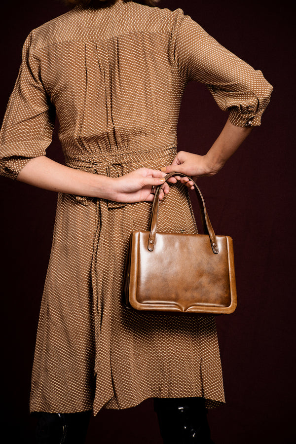 Vintage Cream Coffee Leather Shoulderbag