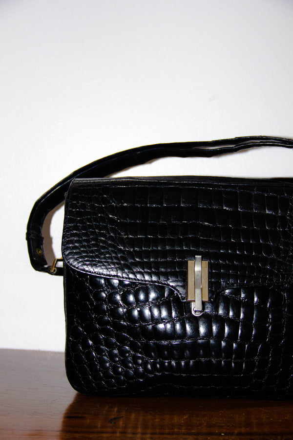 Vintage Croc Leather Shoulder Bag