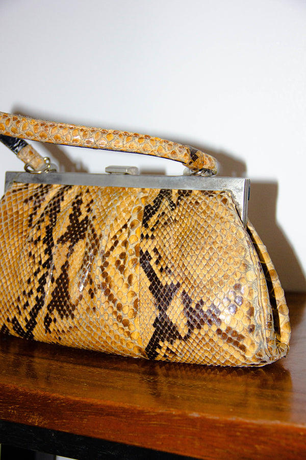 Vintage Snakeskin Leather Handbag
