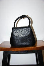 Vintage Ostrich Leather Handbag in Noir