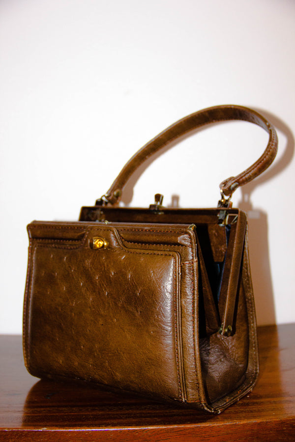 Vintage Ostrich Leather Handbag in Coffee