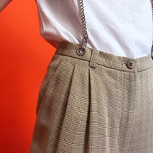 Pleated suspender chain pants