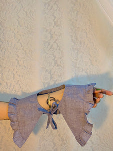 Chambray ruffle collar