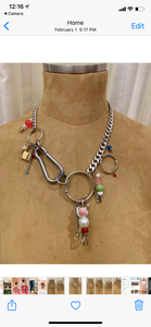 Hardware charmed necklace