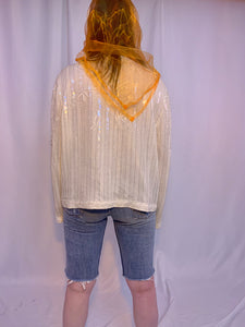 Orange sheer square scarf
