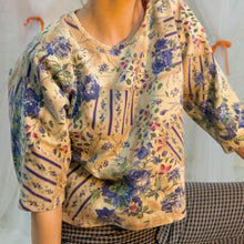 Cropped prairie floral top