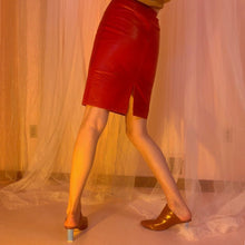 Red leather fitted skirt