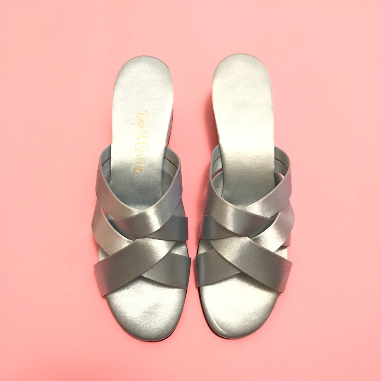 Satin wedge slipper shoes