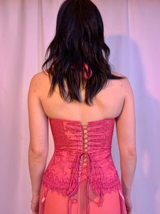 Hot pink brocade corset halter top