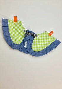 Gingham peter pan ruffle collar