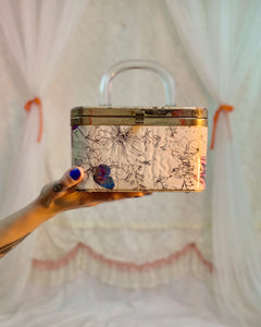 Vinyl covered satin lucite box bag