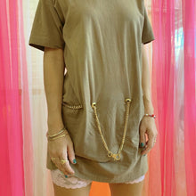 Chain belt mini tee dress
