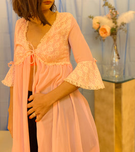 Sheer trumpet sleeve lace bed jacket