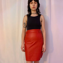 Red leather tab skirt