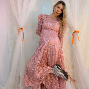 Dusty rose lace puff sleeve dress